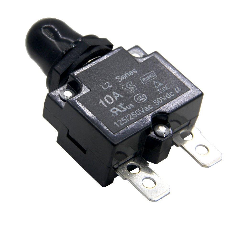 ZOOKOTO 20A DC50V AC125-250V Push Button Reset Circuit Breakers with Quick Connect Terminals and Waterproof Button Transparent Cap
