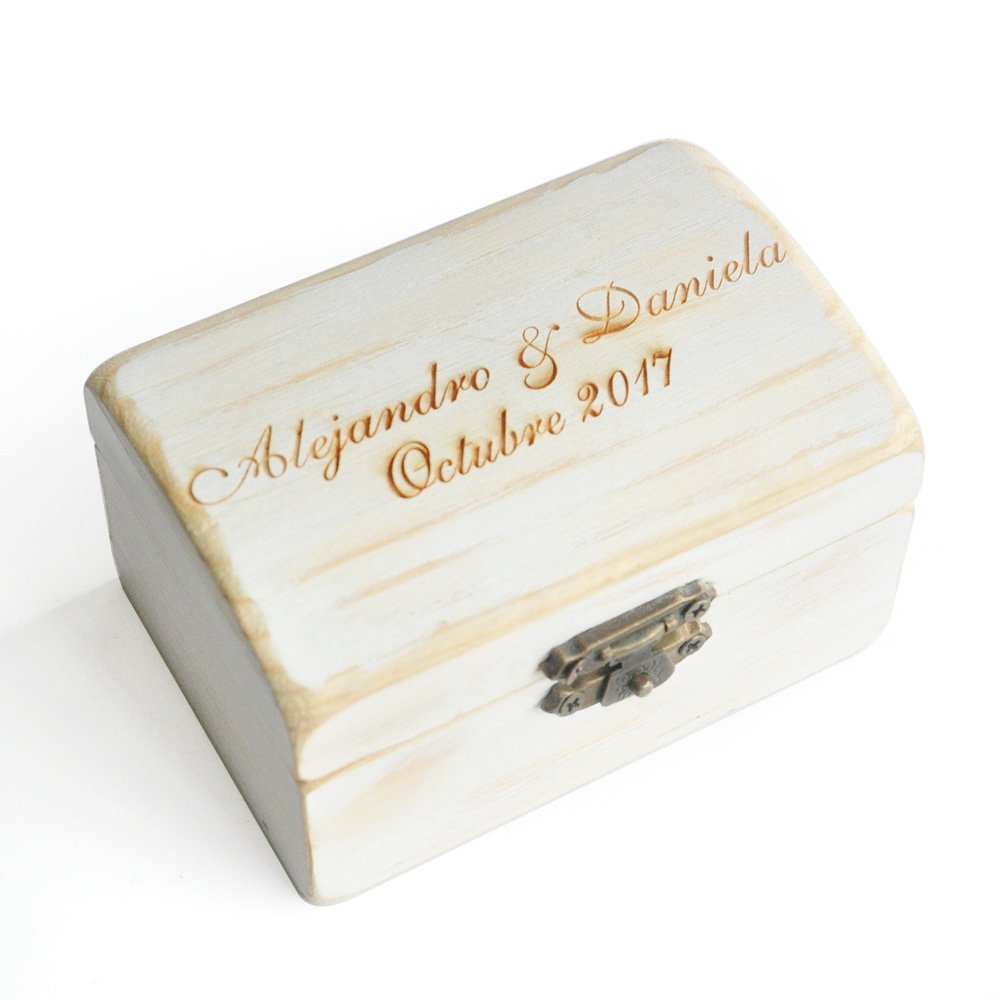 Custom Wedding Ring Bearer Box, Rustic Wood Wedding Ring Box, Personalized Ring Box, Ring Holder, Engraved Name,Date Ring Box 1