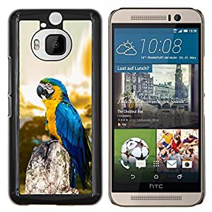 KLONGSHOP // Cubierta de piel con cierre a presión Shell trasero duro de goma Protección Caso - Macaw Blue Parrot - HTC One M9Plus M9+ M9 Plus //