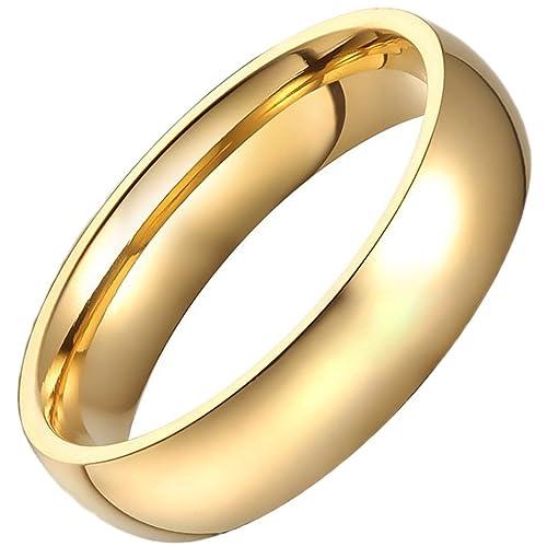 AieniD Anillo Compromiso Hombre Mujer de Acero Inoxidable Alianzas de Diseño Redondeado de Peso Intermedio 4MM