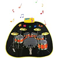 Hamkaw Jazz Drum Music Blanket, Musical Toys Folding Music Carpet Portable Instrument Toy Mat Electronic Drum Practice Pad for Boys & Girls Baby Kids Early Educational Toys