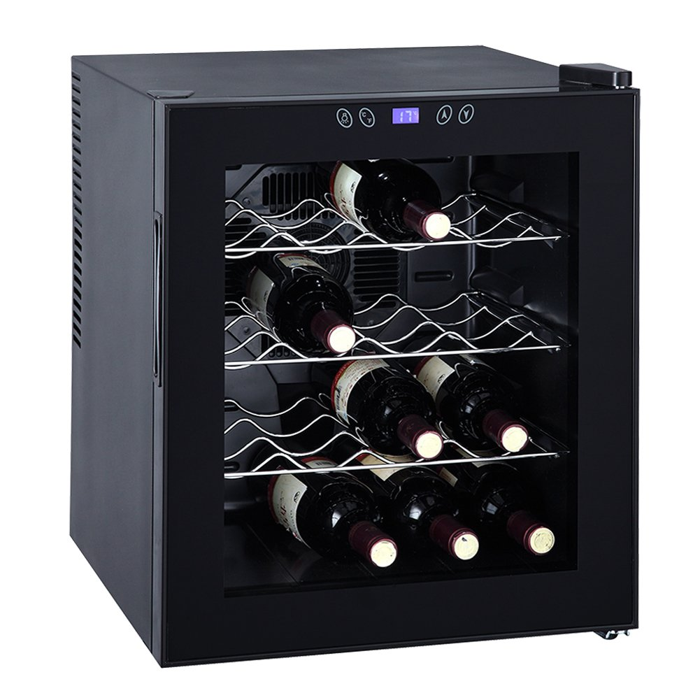 SMETA Thermoelectric Wine Cooler Refrigerator Cabinet Counter Top Mini Beer Cellar,16 Bottles,Black,1.7 Cu Ft
