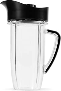NutriBullet Rx 45 Oz Oversized Cup with Pitcher Lid, Black/Clear