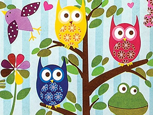 Owl Frog Bird Butterfly Girl Gift Wrap Paper - 15 Foot - Frog Tissue