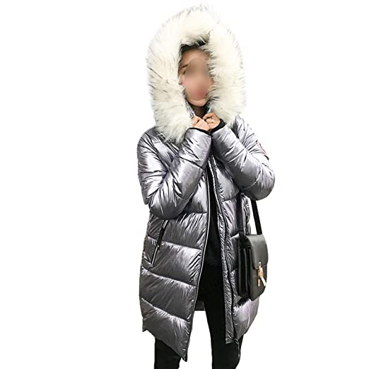 2019 Fur Collar Silver Womens Down Jacket Womens mid-Length Warm Coat Hooded Jacket,