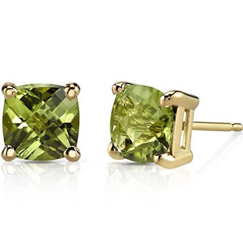 14K Yellow Gold Cushion Cut 2.25 Carats Peridot Stud Earrings