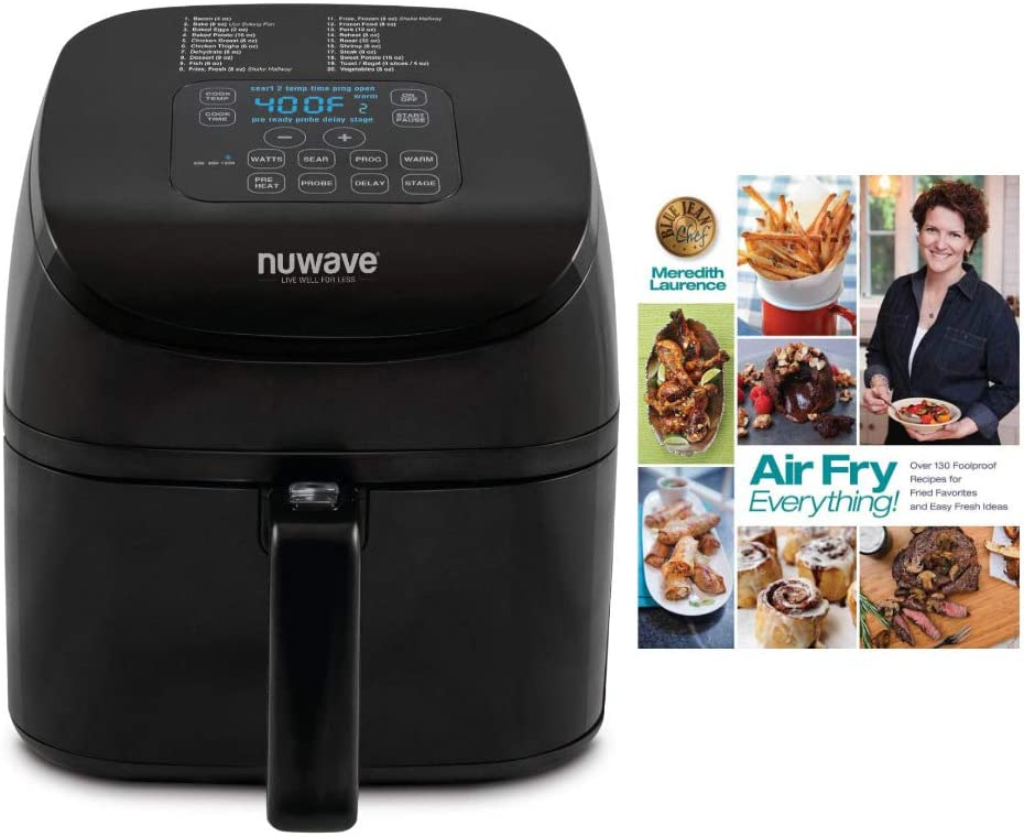 Nuwave Brio 36102 4.5 qt. Digital Air Fryer w Probe and Air Fry Everything Foolproof Recipes for Fried Favorites Cookbook by Meredith Laurence Bundle