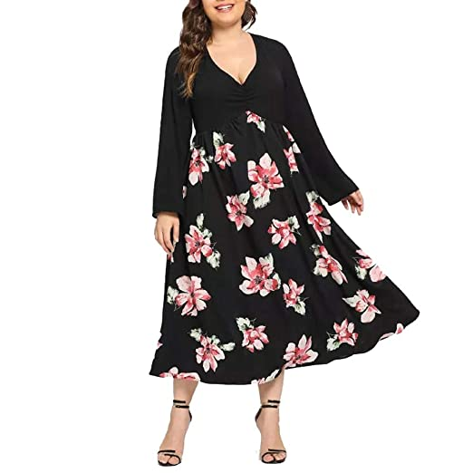 Women Ladies Plus Size Long Sleeve Floral Print Dresses V Neck Hem Boho Evening Prom Dress at Amazon Womens Clothing store: