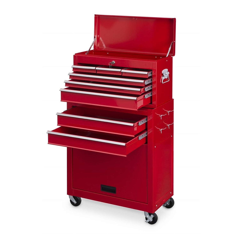 vidaXL Workshop Tool Trolley with 10 Drawers Size XXL Steel Red Storage Cart