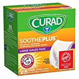 "CURAD SoothePLUS Gauze Pads with ARM & HAMMER Baking Soda, 4"" x 4"", 25 count"