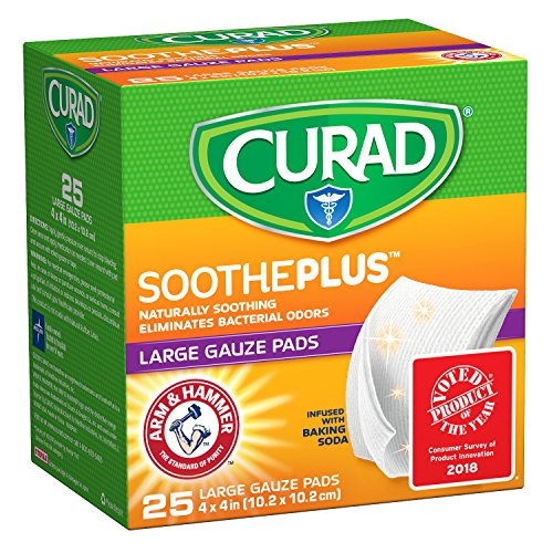 CURAD SoothePLUS Gauze Pads with ARM & Hammer Baking Soda, 4 x 4, 25 Count