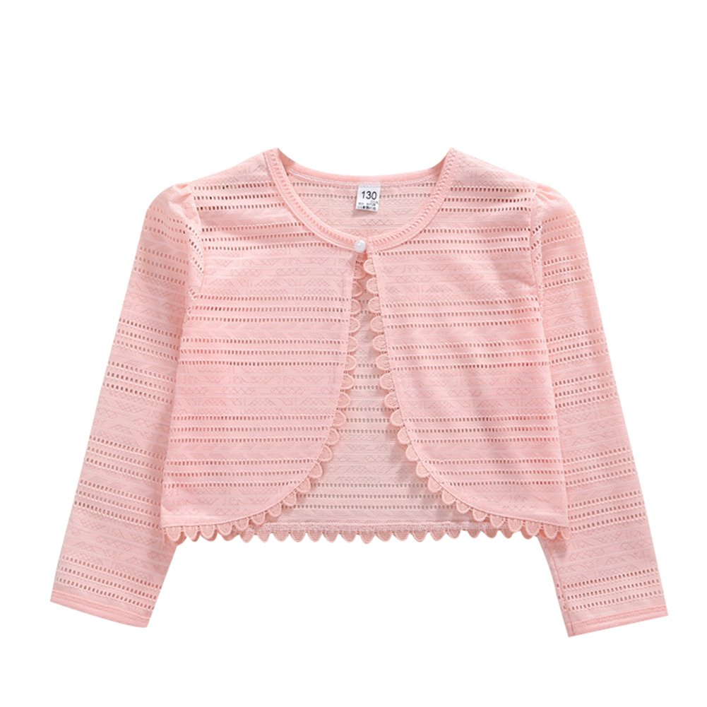 LOSORN ZPY Little Girls' Long Sleeve Lace Solid Colors Button Closure Bolero Cardigan Shrug Dress Cover Up