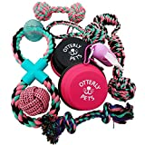 Otterly Pets Puppy Dog Cute Pink Boutique Rope Toys and Silicone Bowl Set 9-Pack Bundle - Small to Medium Breed Girl Dogs