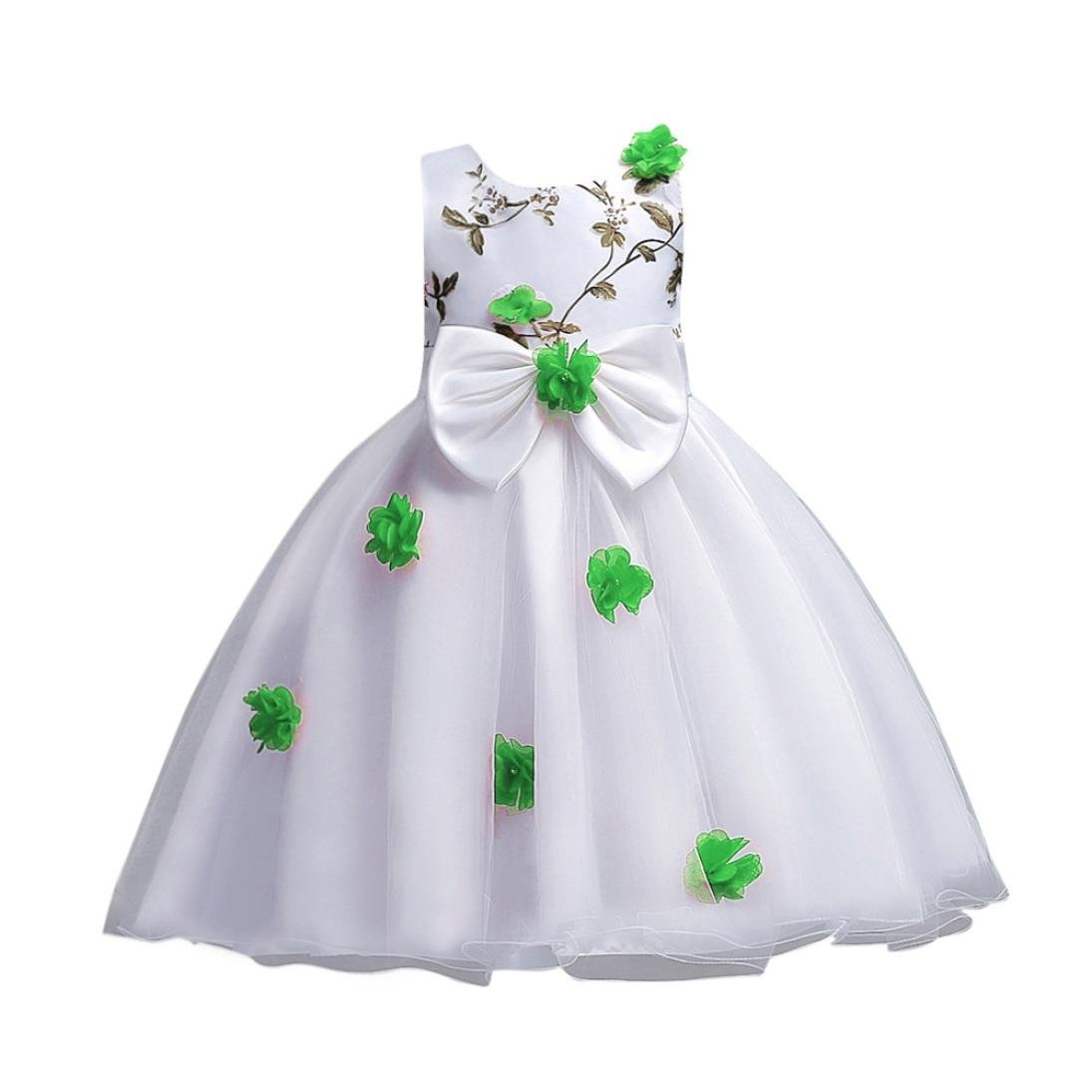 Green, 120 Toddler Baby Girls Sleeveless Floral Bowknot Tutu Princess Dress Outfits Clothes
