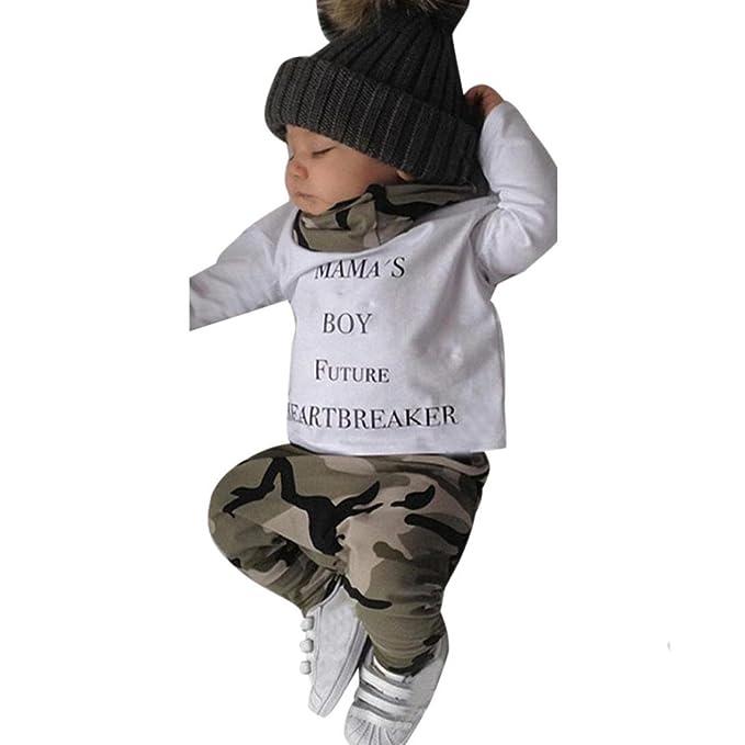 Ropa bebé, Otoño Invierno bebé niño recién Nacidos Ropa Camiseta Tops + Camuflaje Pantalones Conjunto 0-24 Mes