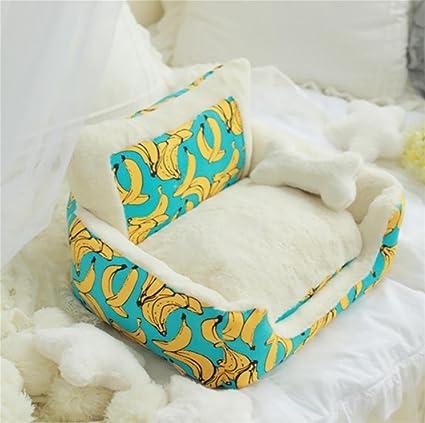 AnGe Cama para mascotas de lujo para gatos y perros pequeños Rectángulo Pelo de conejo ultra