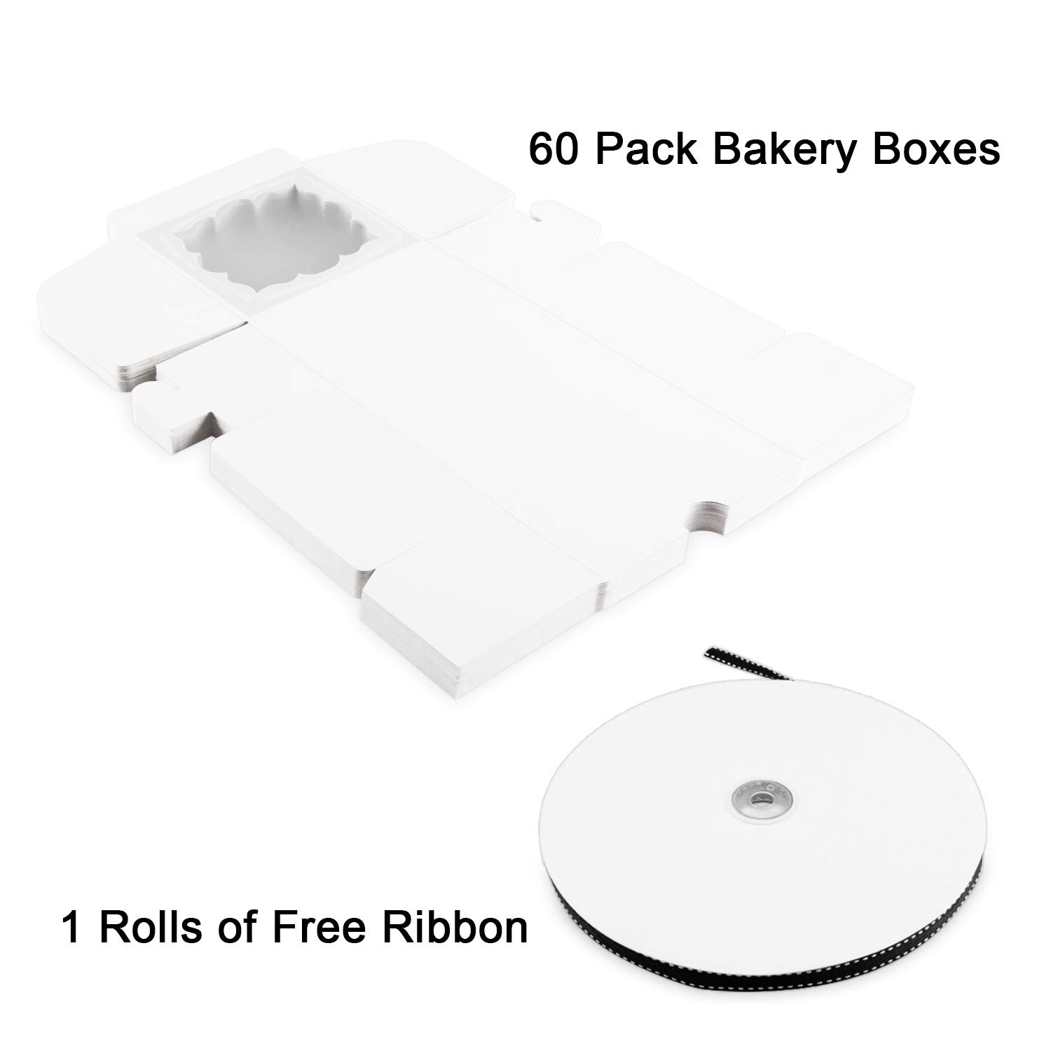 Thalia 60 Pack 4x4x2.5 inches White Bakery Boxes with Window Pastry Box Cake Boxes for Small Pastries Pie Cupcakes Cookies