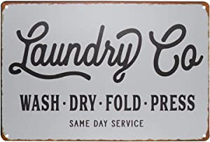 PXIYOU Laundry Co. Wash Dry Fold Press Vintage Metal Distressed Rustic Laundry Room Wall Decor Sign 8X12Inch