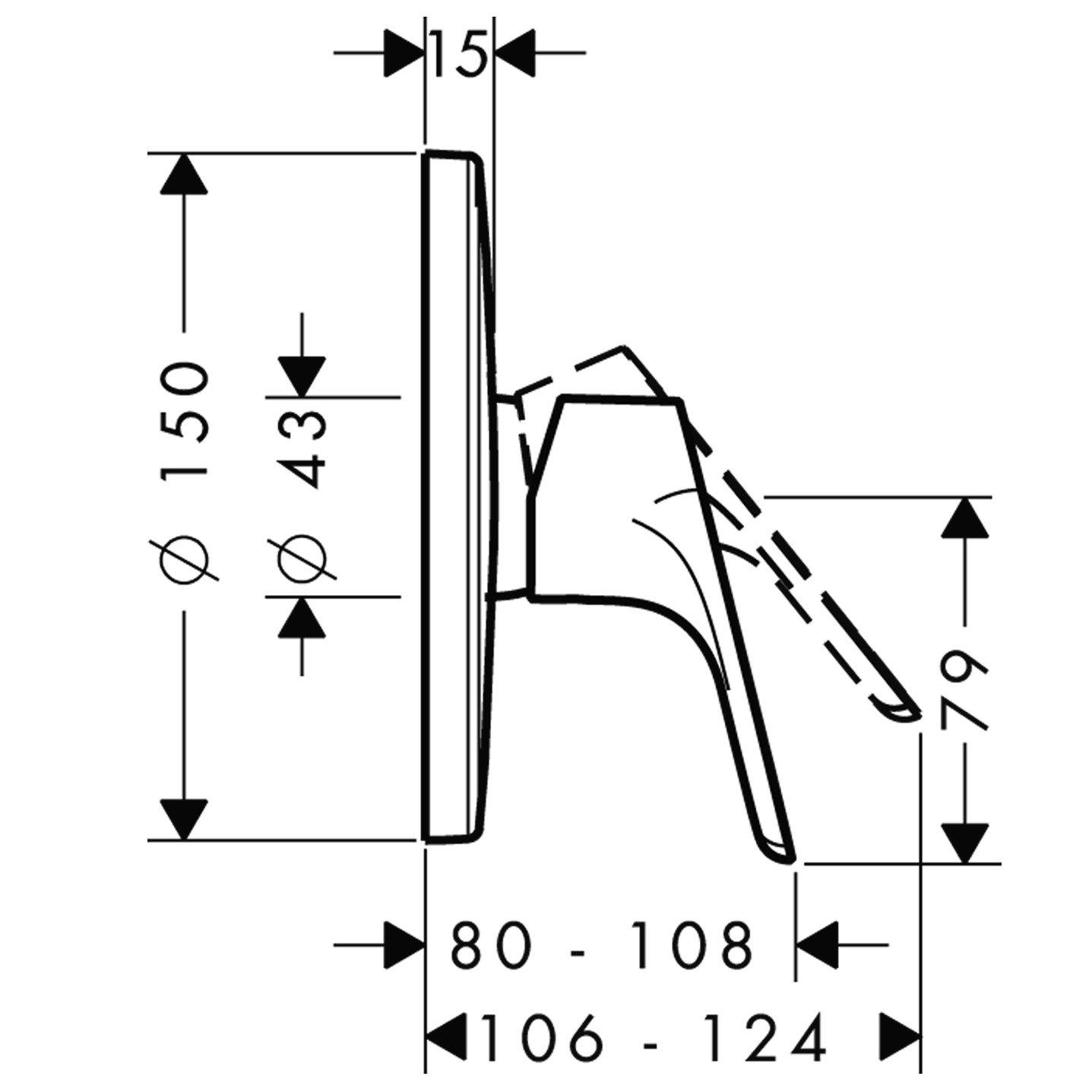 Hansgrohe 31965000 Set de finition pour mitigeur douche encastr/é Focus E/²