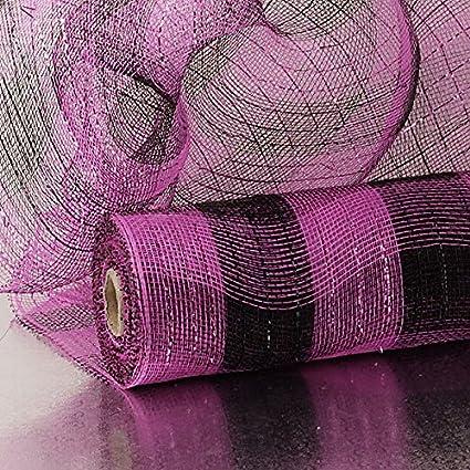 21 X 10 Yards Hot Pink Deco Mesh W//Metallic Stripe