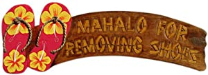 Alii of Hawaii Hand Painted Wooden Sign Mahalo for Removing Shoes Red Flip Flop Wall Sign