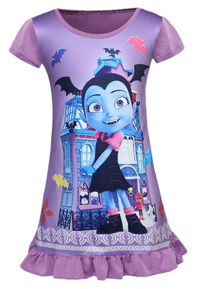 AOVCLKID Vampirina Nightgown Girls Cartoon Printed Pajamas Dress