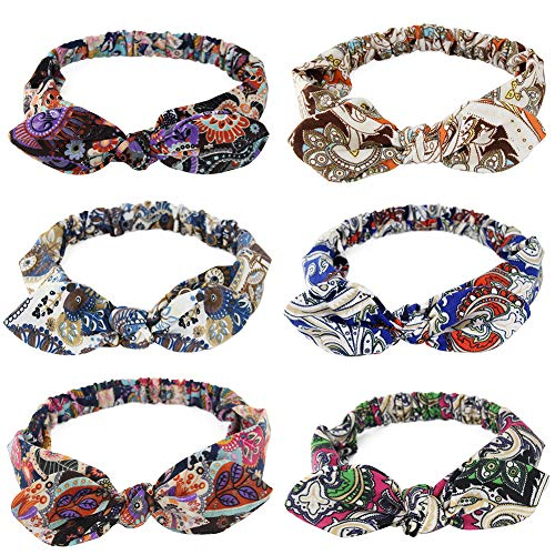 (Carede Elastic Paisley Bandana Headband Bohemian Turban Head Wrap Sport Yoga Knot Headbands With Rabbit Ears Bow Hair Band and Accessories for Girls and Women,Pack of 6)