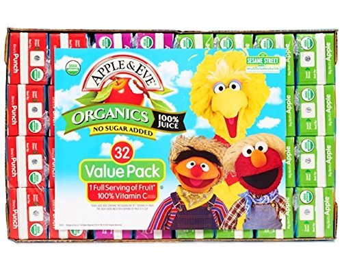 Apple & Eve Sesame Street Organics Juice Box Variety Pack, 4.23 Ounce,32 Count (Kids Organic Juice Boxes)