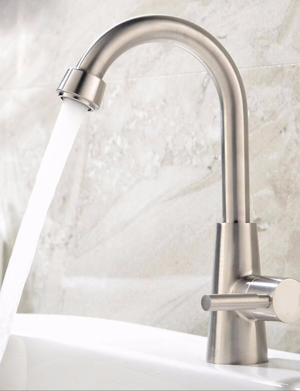 High) Hlluya Professional Sink Mixer Tap Kitchen Faucet Faucet Stainless steel single-basin sink surface basin sink single handle single hole faucet, high