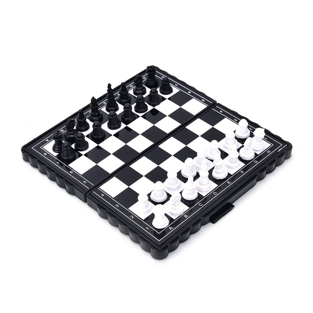 VT BigHome 32 Pcs/set Magnetic Plastic Portable Folding Magnetic Travel Plastic Chess Board Set with Pieces Games Accessories by VT BigHome