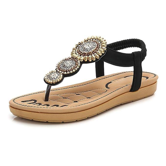 Women/' Summer T-Strap Rhinestone Beaded Wedges Sandals Peep Toe Slip On Shoes