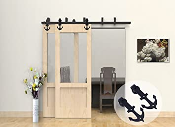 CCJH 15FT Anchor Design Bypass Sliding Barn Wood Door Hardware Interior  Double Sliding Door Black Rustic
