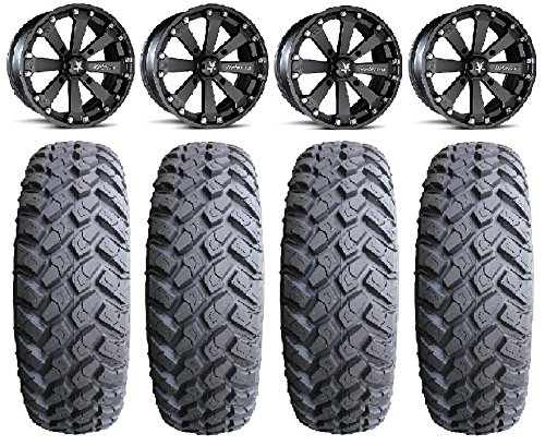 4x156 Bolt Pattern 12mmx1.5 Lug Kit 9 Items MSA Black Kore 16 ATV Wheels 32 MotoHammer Tires Bundle