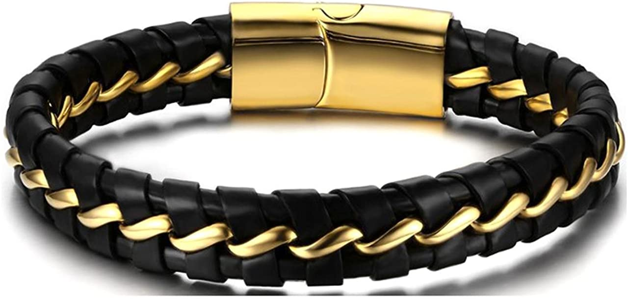 Mgutillart Punk Rock Stainless Steel Magnet Buckle Wristband Leather Bracelet
