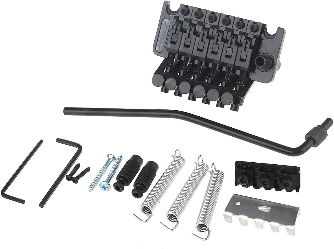 Black Musiclily Guitar Stratocaster Tremolo Bridge Set for Fender Strat Squier Electric Guitar Replacement