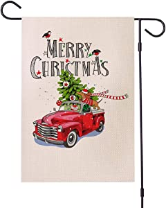Christmas Garden Flag 12.5 x 18 Inch Double-Sided Burlap ChristmasYardFlag, RedTruckMerryChristmasFlag for Winter Indoor Outdoor Xmas House Decorations