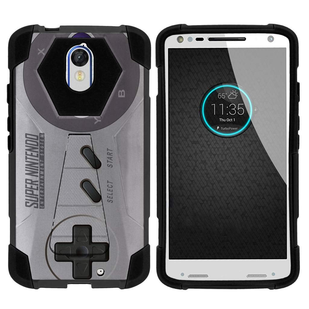 TurtleArmor | Compatible for Motorola Droid Turbo 2 Case | Moto X Force Case [Dynamic Shell] Hybrid Dual Layer Hard Shell Kickstand Silicone Case - Classic Game Controller