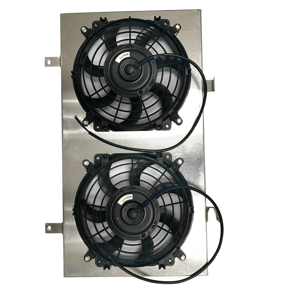 Jsd M027 10 Inch Dual Radiator Cooling Electric Slim Flexalite Fan Black Magic Series Coximportcom A With Aluminum Shroud 26h X14w Universal Automotive