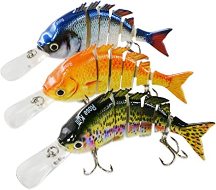 Amazon.com : Rose Kuli Fishing Lures for Bass Multi Jointed