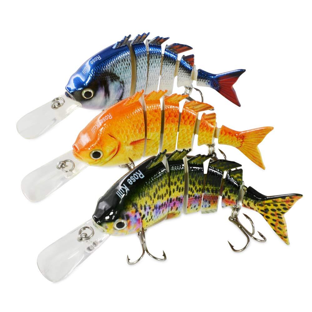 ROSE KULI Fishing Lures for Bass Multi Jointed Lifelike Crankbait 3 Pack Fishing Tackle Kits by ROSE KULI