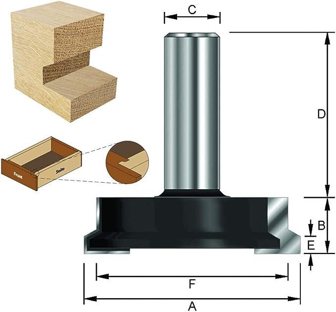 ENT Fraise dassemblage pour tiroirs Carbure Queue D 32 mm 25,4 mm 8 mm B 12,7 mm F 19 mm Diam/ètre C A E 3,97/°