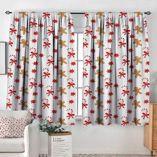 "Gingerbread Man Room Darkening Curtains Candy Cane with Bowties Red Star Figures Gingerbread Man Pattern Thermal Blackout Curtains 72"" W x 63"" L Sand Brown Orange"