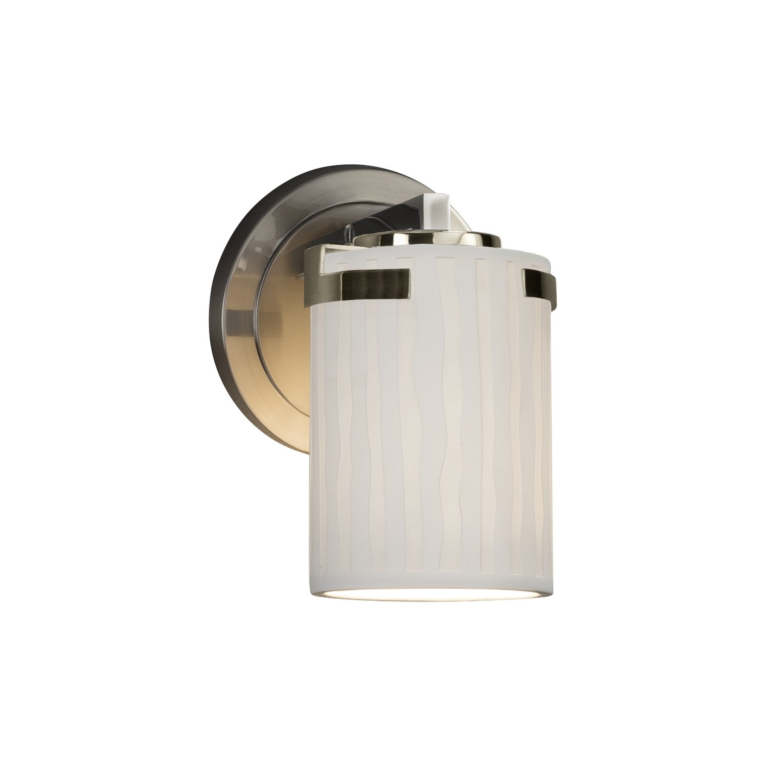Limoges - Atlas 1-Light Wall Sconce - Cylinder with Flat Rim Translucent Porcelain Shade with Waterfall Design - Brushed Nickel Finish