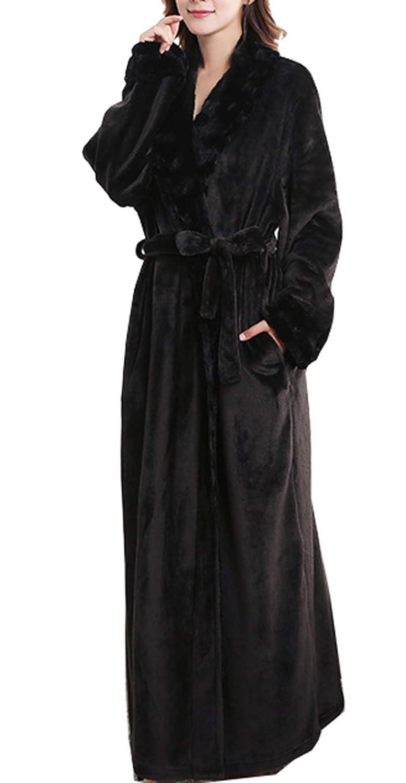 Black Femaroly Female Soft Robe Thick Flannel Nightgown Long Warm Loungewear Pajamas Bathrobe