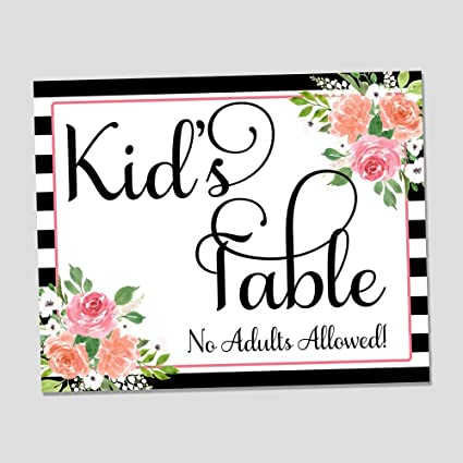 Amazon Black White Floral Kids Table Wedding Reception Sign