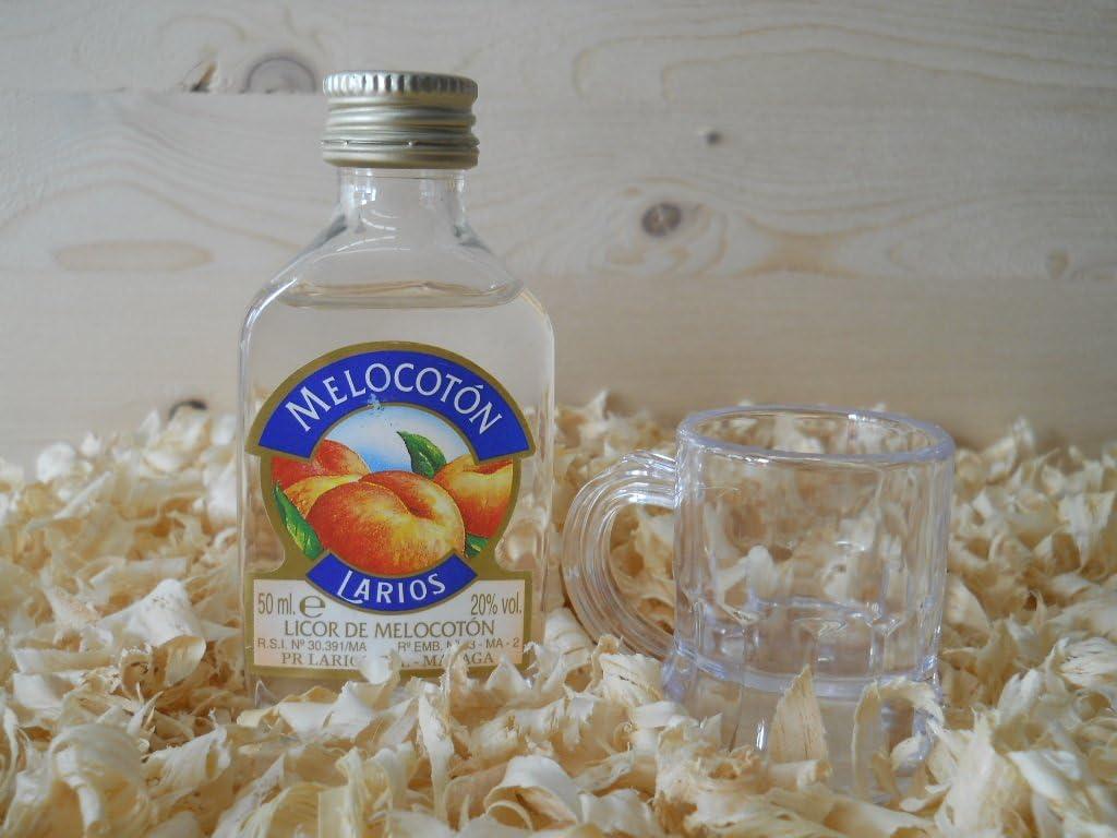 Botellin miniatura Licor Larios Melocotón con vasito chupito ...