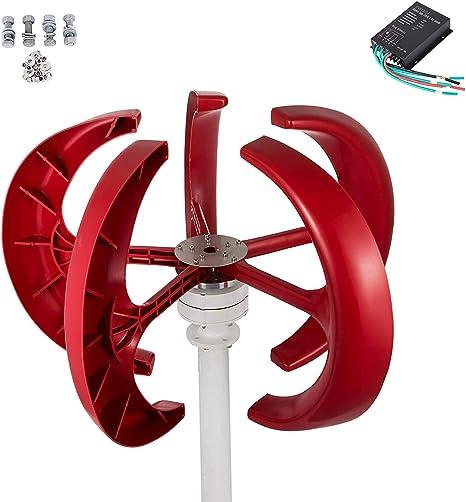 Q&N Pequeño generador de turbina de Viento Molino de Viento con Economía Controlador y 5 Hojas de generador de turbina de Viento Solar de turbina eólica Sistema híbrido12v,500W: Amazon.es: Hogar