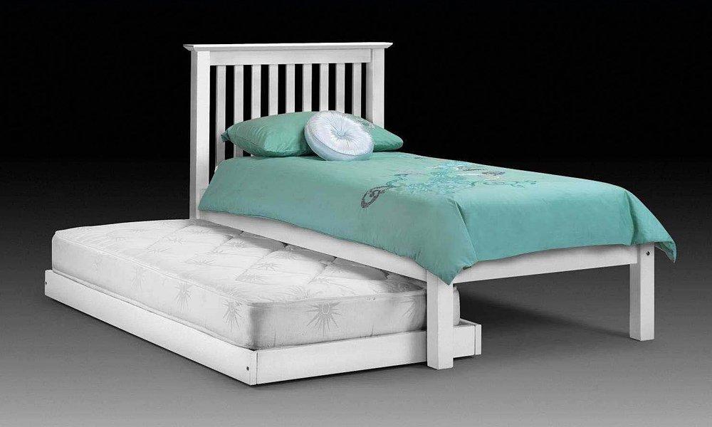 Happy Beds Feliz Camas Barcelona Cama de Invitados Hideaway bajo pie Final Piedra Blanco Madera de Pino con 2 x Lujo Spring colchones 3 Single 90 x 190 cm: ...