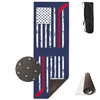 Amazon.com : Red Hockey Stick American Flag Yoga Mat Towel ...