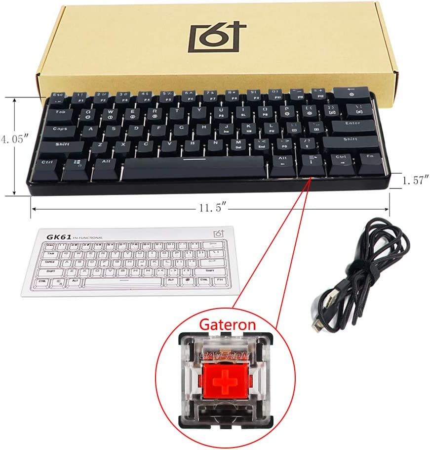 YUEYU RGB LED Backlit Wired Mechanical Keyboard,Portable Compact Waterproof Mini Gaming Keyboard 61 Keys Gateron Switchs for PC Mac